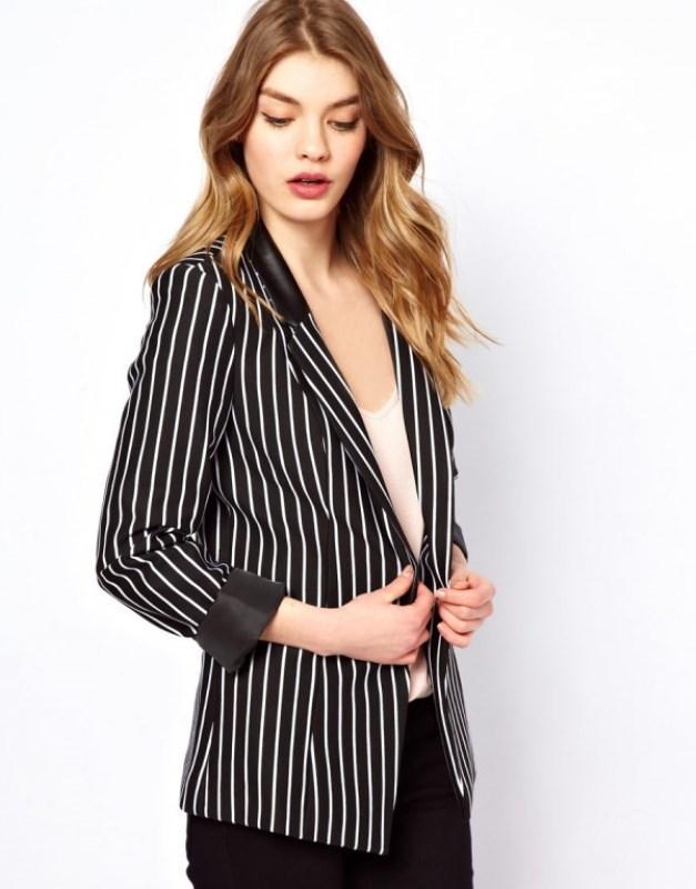 Çizgili deri detaylı ceket