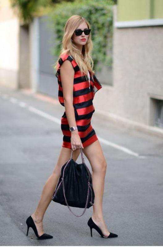 Çizgili yarasa kollu mini elbise