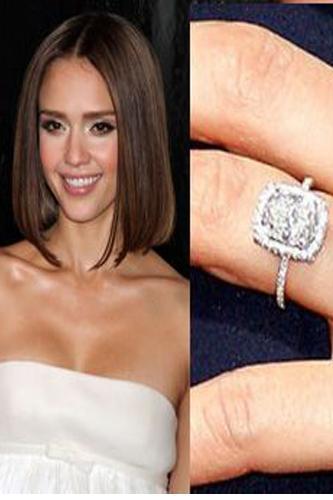 Jessica Alba  Cash Warren 2007 yılında Asscher kesilmiş elmas bir yüzükle Jessica'ya diz çöktü.