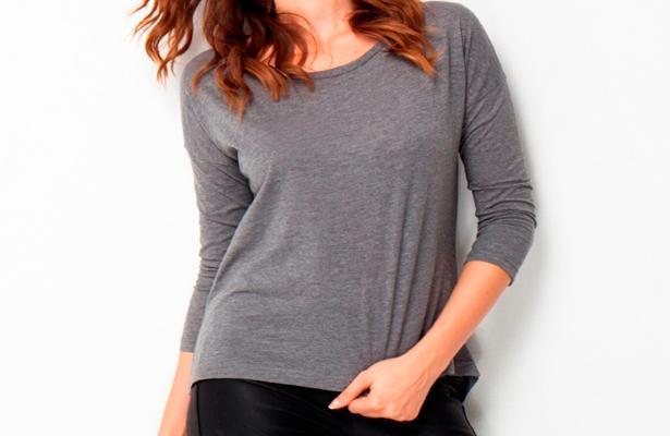 Sırtı fermuarlı gri tişört