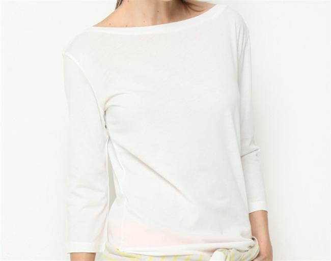Uzun kollu beyaz tişört