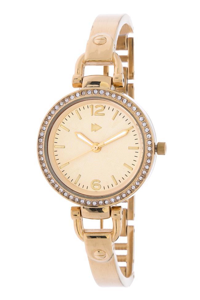 Altın rengi taşlı saat
