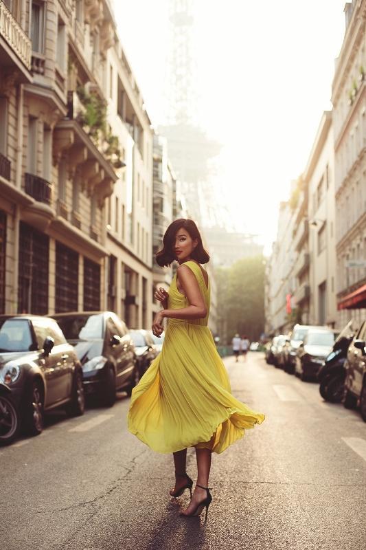 Salaş sarı uzun elbise