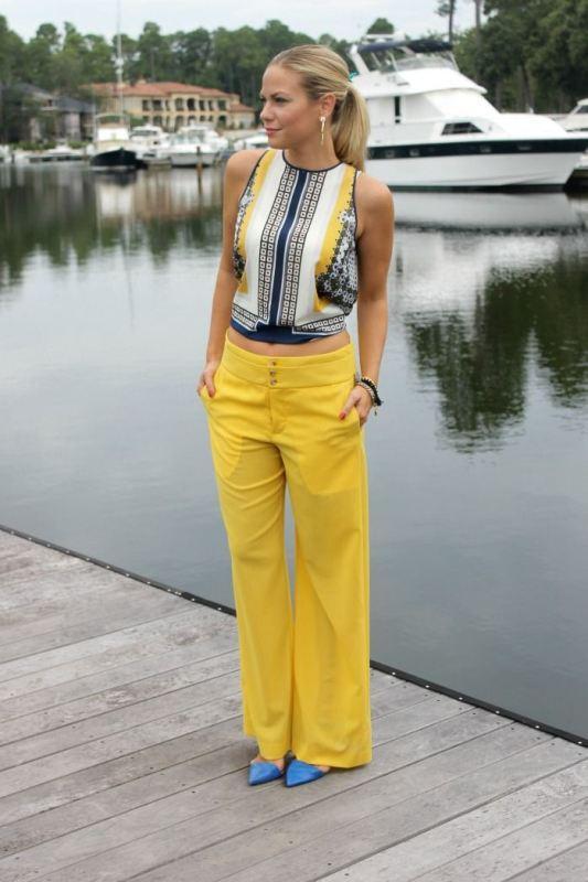 Sarı bol paça pantolon