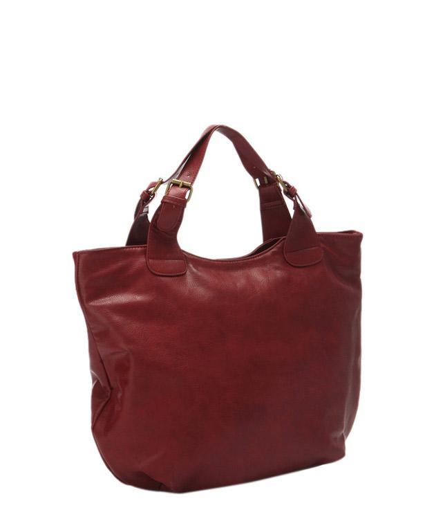 Kıyafetinizle uyum sağlayacak toka detaylı bordo çanta