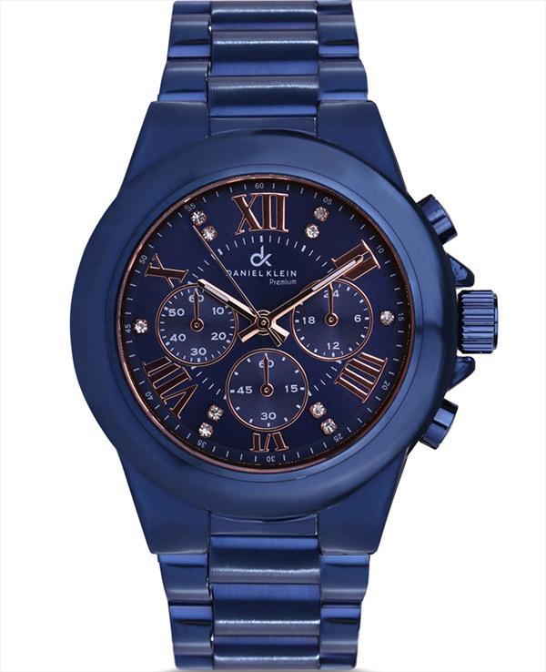 Saks mavisi taş detaylı saat