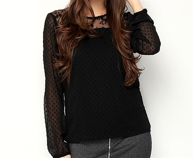 Tül detaylı siyah bluz