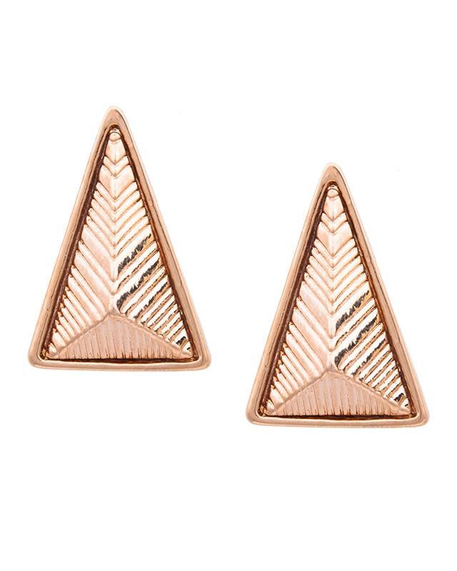 Somon rengi üçgen prizma küpe