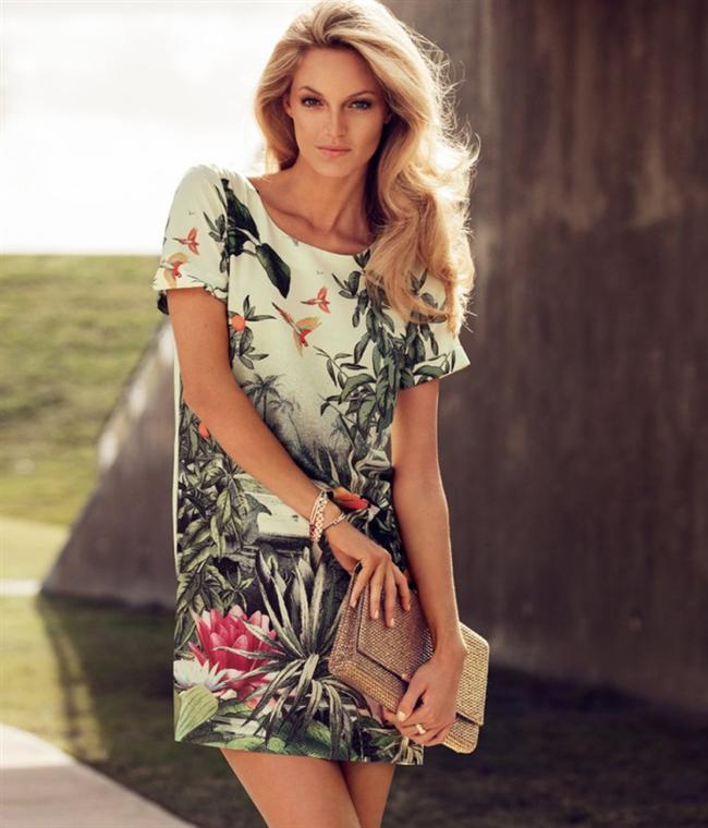 Tropikal figürlü elbise