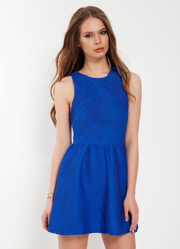 Saks mavisi kısa elbise