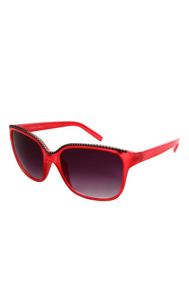 Zımba detaylı kırmızı güneş gözlüğü
