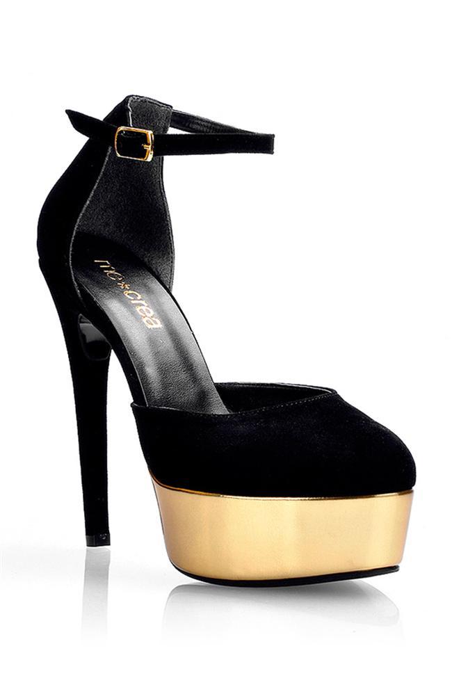 Altın sarısı detaylı platform topuk ayakkabı