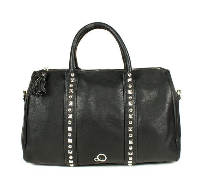 Zımba detaylı siyah omuz çantası