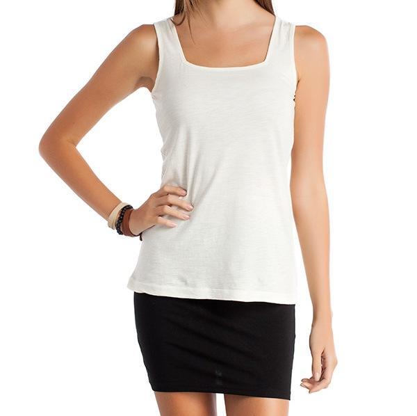 Kare yaka askılı beyaz organik tişört