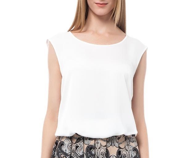 Kolsuz beyaz bluz