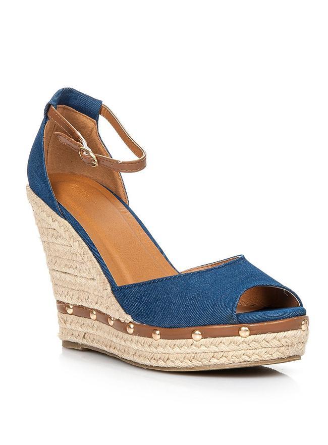 Dolgu topuklu mavi ayakkabı