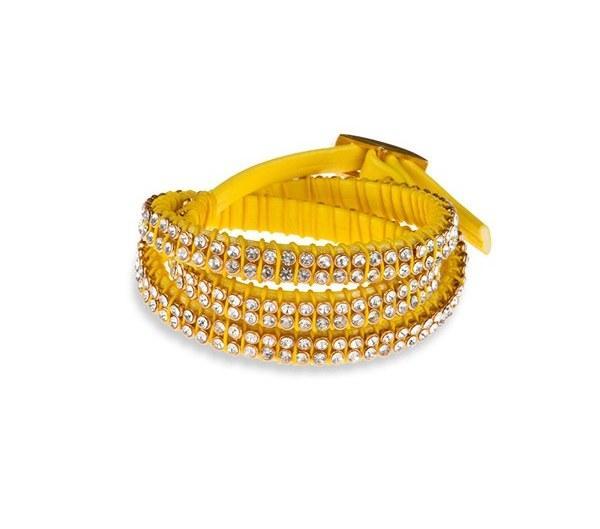 Zirkon taşlı sarı deri bileklik
