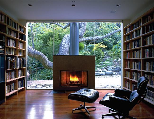 Birçok zevki bir arada isteyenlere: kitap, şömine, doğa...