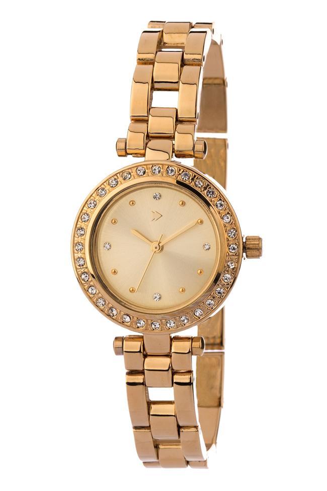 Altın renkli taş detaylı saat