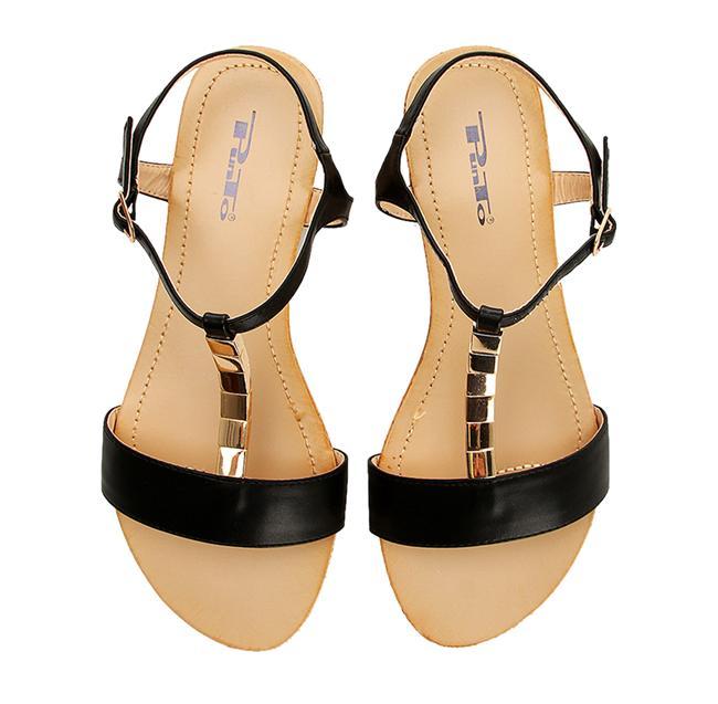 Siyah düz sandalet