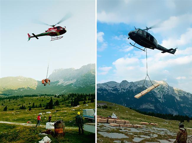 Ev helikopterler yardımı ile 1 günde inşa edilmiş.