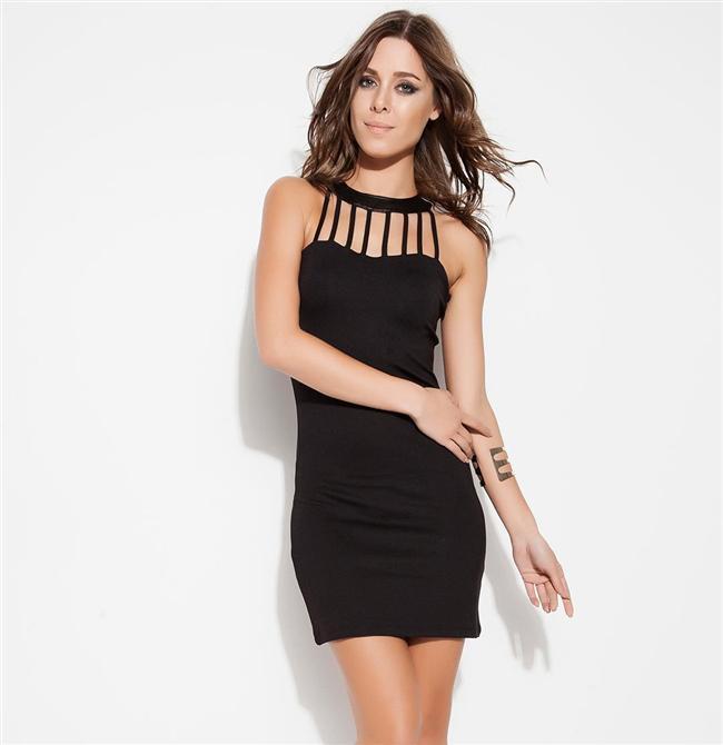 Siyah yakası detaylı mini elbise