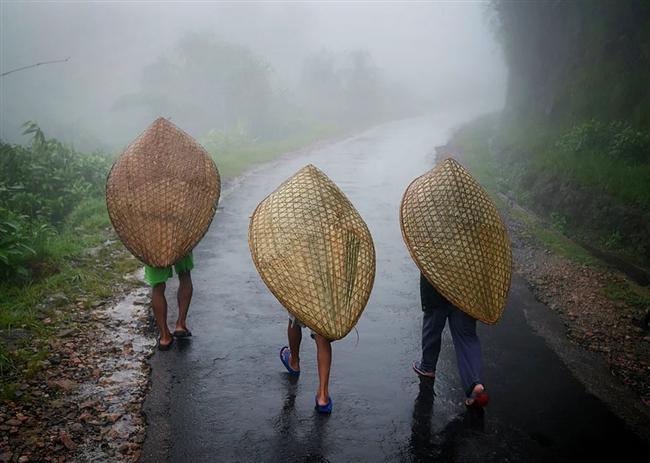 Kasabaya doğru yürüyen ve KNUPS olarak bilinen geleneksel Khasi şemsiyeleri ile yağmurdan korunmayan çalışan üç işçi. Bambu ve muz yapraklarından üretilen bu şemsiyeler oldukça meşhur çünkü bu şemsiyeyi kullanırken, işçiler iki elleriyle de çalışabiliyor ve yağmur fırtınası altında çalışırken ayakta kalabiliyorlar.