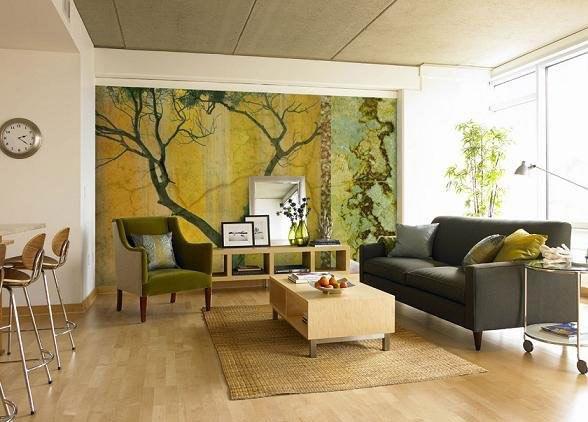 2- Tablo Gibi Bir Ev  Tek bir duvara resim yaparak, tablo gibi bir eve sahip olabilirsiniz. Bir de bu resim doğadan unsurları içeriyorsa, kendinizi içeride değil de dışarıda hissedebilirsiniz. Üstelik evinizin derinliğini arttırır.