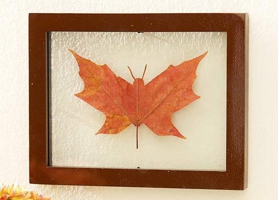 6- Yaprak Sanatı  Hazır son bahar da gelmişken... İrice bir yaprağa vereceğiniz kelebek, yarasa ve benzeri bir şekil ile etkileyici bir tablo yaratabilirsiz.