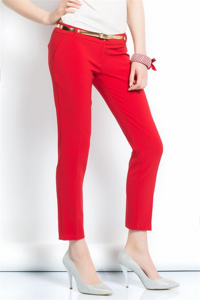 Dar paça kırmızı pantolon