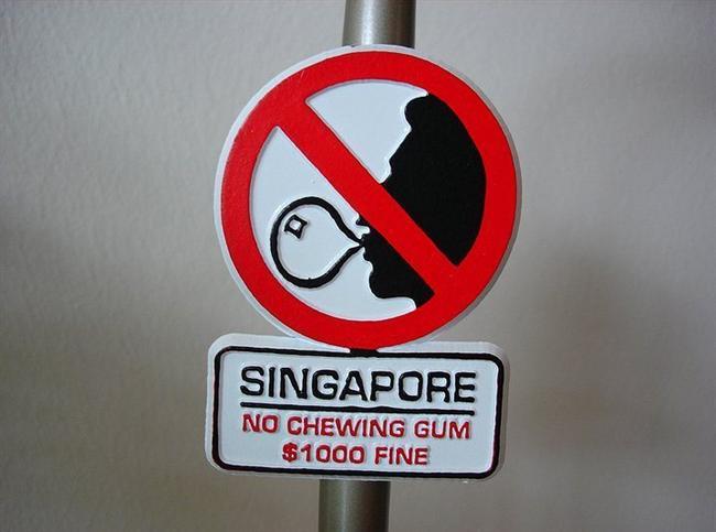 Singapur'da sakız bulundurmak veya satmak yasak.