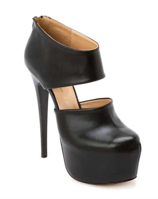 Deri cutout topuklu ayakkabı