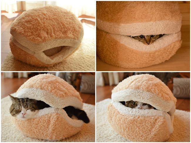 1. Burger Şeklinde Kedi Yatağı