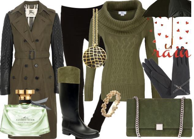 Bu senenin modası haki yeşili bir yağmur kombini sizi oldukça trend gösterir!