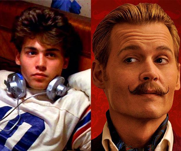 Johnny Depp 21 yaşında 1984 yapımı Elm Sokağında Kabus filmiyle üne kavuştu ve şimdi son filmi Mortdecai'de 51 yaşında.