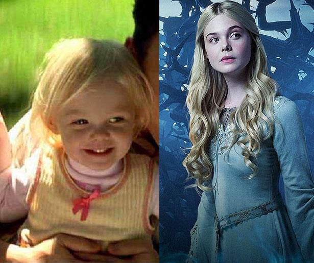 Elle Fanning 2001'de Benim Adım Sam filminde 3 yaşındayken ablası Dakota Fanning'in canlandırdığı karakterin küçüklüğünü oynamıştı. Şimdiyse onu 16 yaşındaki haliyle Malefiz filminde izledik.
