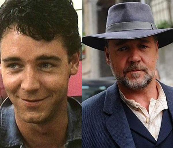 Russell Crowe 27 yaşında 1991 yapımı Brides of Christ'te yer almıştı. Son filmi The Water Diviner'da 50 yaşında.