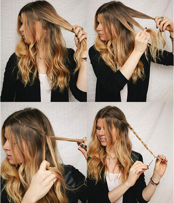 9. Saçının bir parçasını seçip ördükten sonra üstten kabarttığın saçın arasından geçirip tel toka ile tutturarak bu saç modeline ulaşabilirsin.