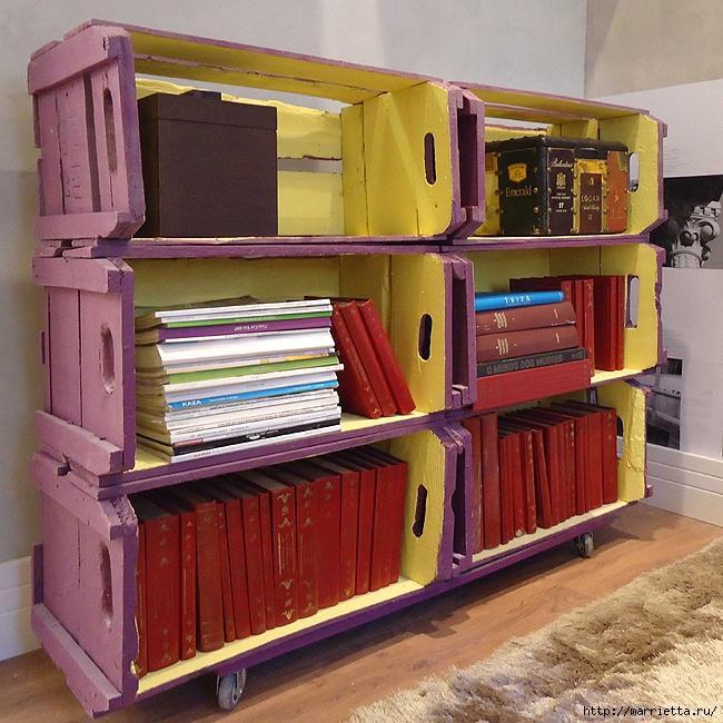 7. Akla gelmedik eşyalardan tasarlanmış kitaplıklar.