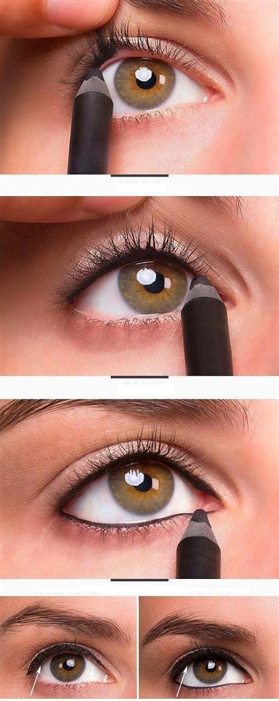 12. Eğer göz kapaklarınız yoğun bir eyeliner çizgisi için küçükse, üst kirpik diplerinizi de siyah kalemle doldurarak bu çizgiyi daha altta gösterin.