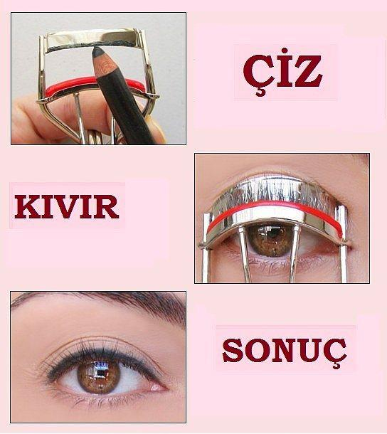 17. Kirpik kıvırıcınızı eyelinerınızla boyayıp kirpiklerinizi kıvırın, zamandan kazanın.