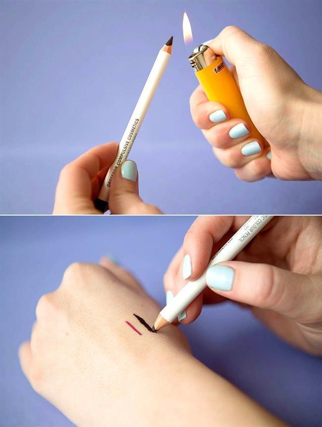 21. Siyah göz kaleminizi ısıtarak jel eyelinerınızı kendiniz yaratın.