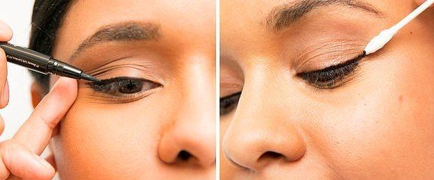 6. Eyeliner sürerken cildinizi sağa sola çekiştirmeyin.  Dağılan kısımları pamuklu çubuk yardımıyla, sonradan da temizleyebilirsiniz.