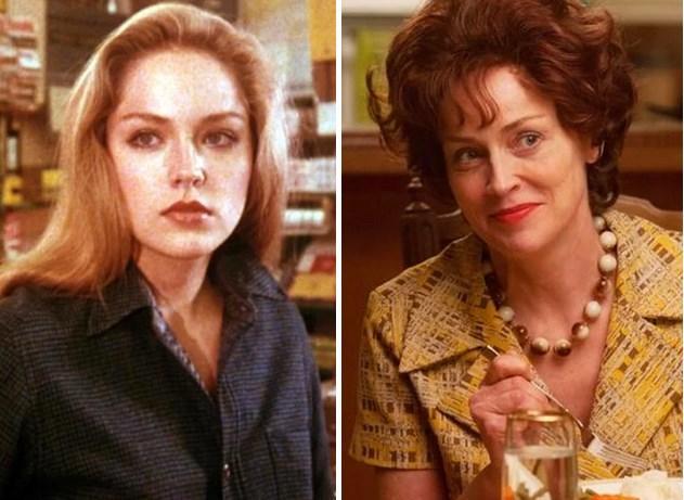 14. Sharon Stone  1980 yapımı Stardust Memories ile kamera karşısına 22 yaşında geçti ve son filmi Lovelace ile 56 yaşında kariyerine devam ediyor.  Fotoğraf 1981 yapımı Deadly Blessing filmine ait.