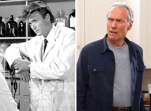 19. Clint Eastwood :  1955 yapımı Revenge of the Creature'da 25 yaşındaydı. Son filmi Hayatımın Atışı'nda 82 yaşında.  Şu anda 84'ünde. Daha uzun yaşaması umuduyla.
