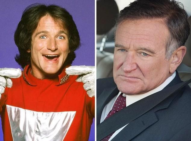 7. Robin Williams:  1978'de Mork & Mindy'de yer aldığında 27'sindeydi. Hayata veda etmeden önceki son filmi Asabi Adam'da 63 yaşındaydı.
