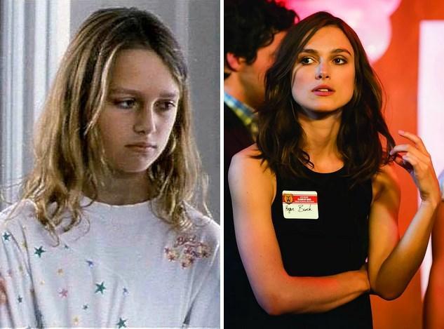 9. Keira Knightley:  10 yaşındayken 1995 yapımı A Village Affair filminde oynamıştı. Vizyona girecek Laggies filminde 29 yaşında.