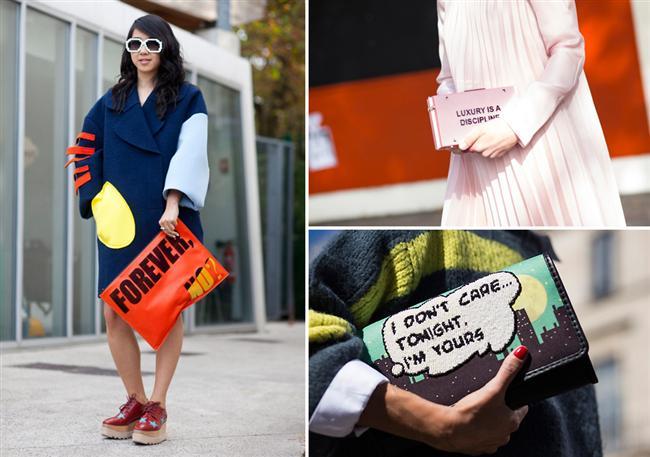 Sokak stilinde kadınların vazgeçilmezi mesaj kaygılı clutchlar, bu sezon da çok trend.