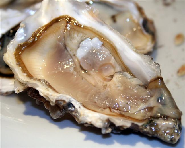 8. İstiridye  İstiridyenin afrodizyak etkisi olduğu bilinmektedir. Çinko deposu bu deniz canlısı aynı zamanda sperm sayısını da arttırır. İstiridyenin sperm üretimini arttırırken spermdeki hasarı tedavi ettiği de bilinmektedir.