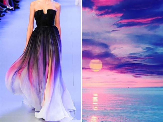 Moda dünyası sık sık yaratıcılığını göstermek için, tasarımlarını doğal dünya teması üzerine çalışıyor. Ünlü modacılar bu sefer Rus sanatçı Liliya Hudyakova 'nın fotoğraflarından ilham aldı ve bu müthiş fotoğrafları elbiselerle bütünleştirdi. Ortaya çıkan tasarım harikalarına inanamayacaksınız. İşte ünlü tasarımcılardan doğanın modası...  Elie Saab / 2014 & Günbatımı